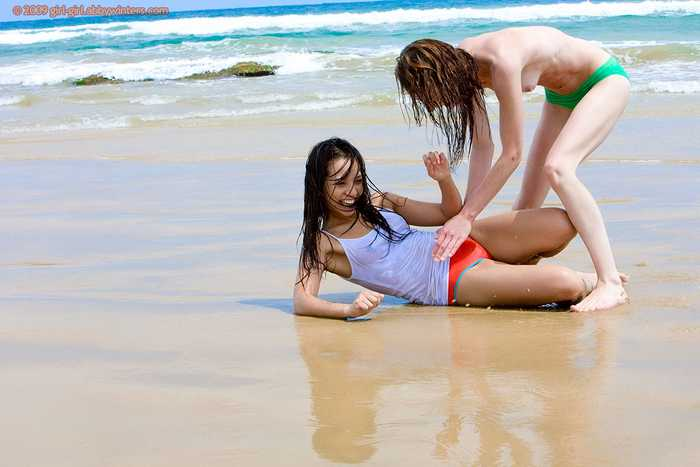 Carly and Silvie nude on the beach