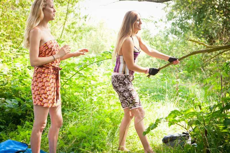 Marleen and Misha lesbian sex outdoors
