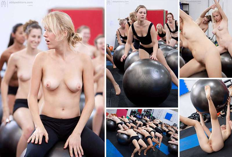 Abby Winters naked fitball training girls