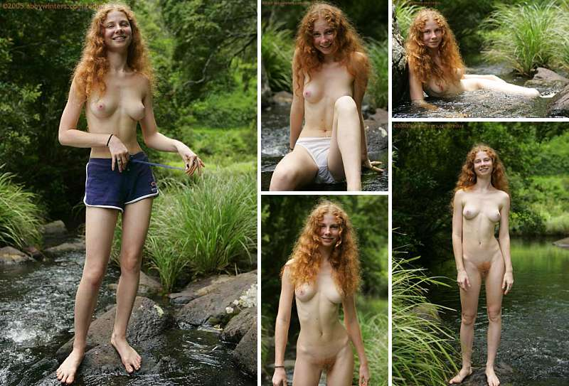 Naked Australian girl with red pubic hair