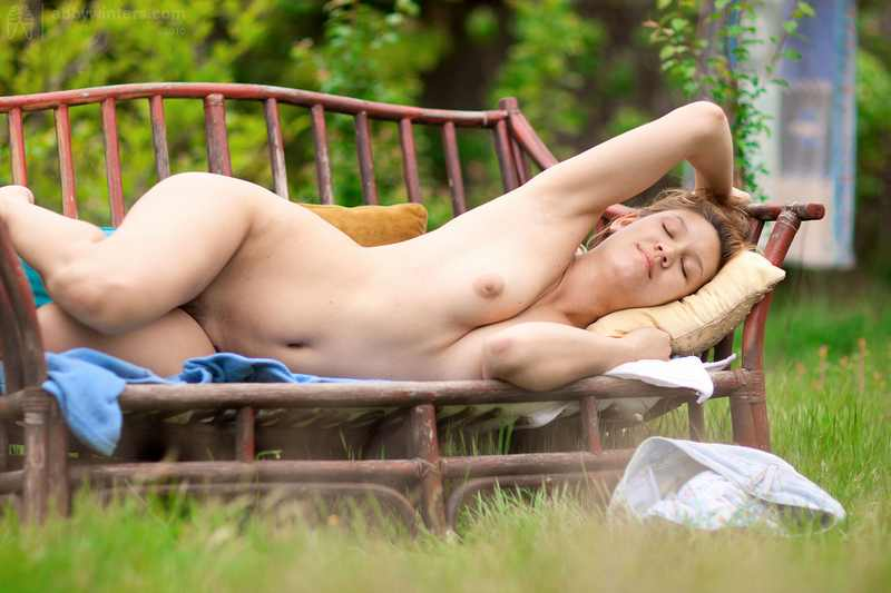 Abby Winters Charlotte naked and masturbating outdoors